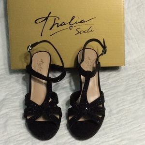 "Thalia Sodi Verrda 4"" Black jeweled sandals"